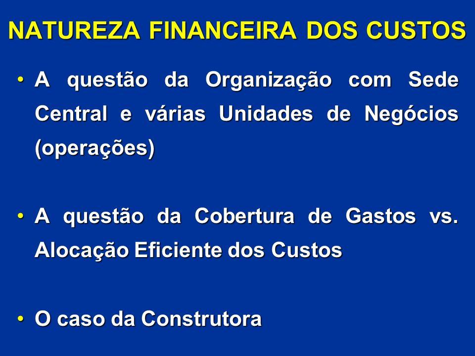 NATUREZA FINANCEIRA DOS CUSTOS A questão da Organização com Sede Central e várias Unidades de Negócios (operações)A questão da Organização com Sede Ce