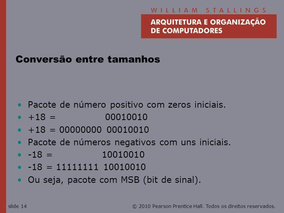 © 2010 Pearson Prentice Hall. Todos os direitos reservados.slide 14 Conversão entre tamanhos Pacote de número positivo com zeros iniciais. +18 = 00010