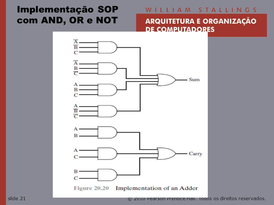© 2010 Pearson Prentice Hall. Todos os direitos reservados.slide 21 Implementação SOP com AND, OR e NOT