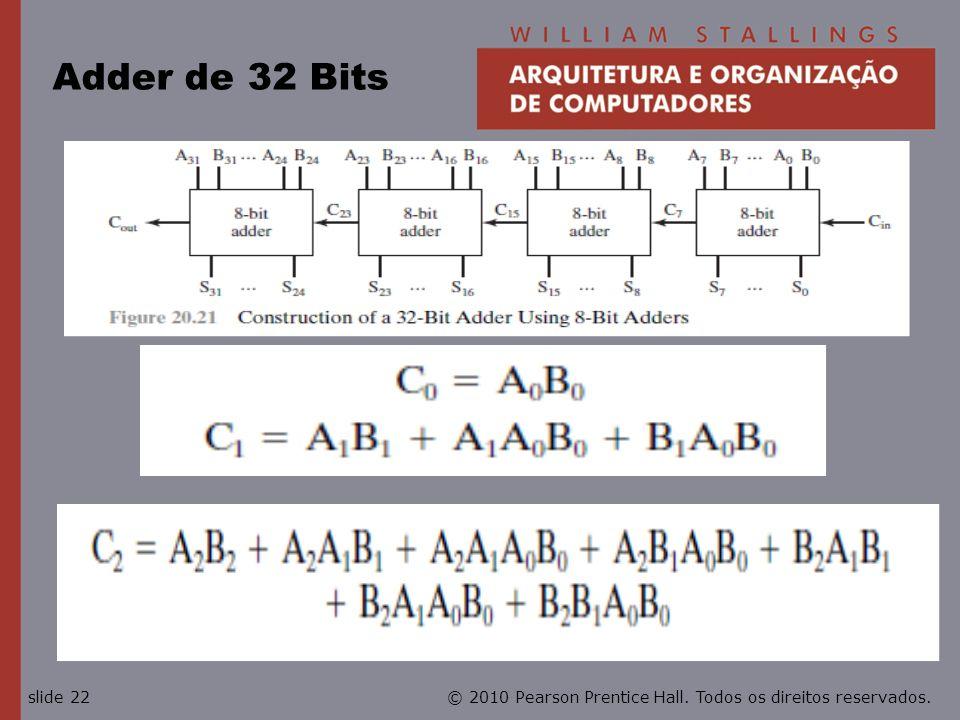 © 2010 Pearson Prentice Hall. Todos os direitos reservados.slide 22 Adder de 32 Bits