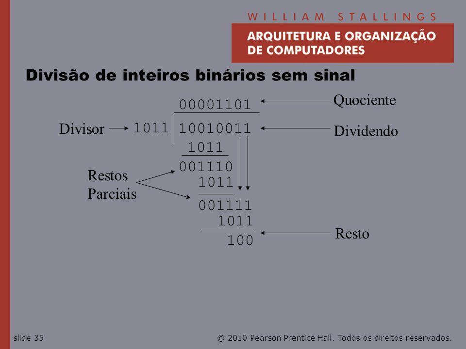 © 2010 Pearson Prentice Hall. Todos os direitos reservados.slide 35 001111 Divisão de inteiros binários sem sinal 1011 00001101 10010011 1011 001110 1