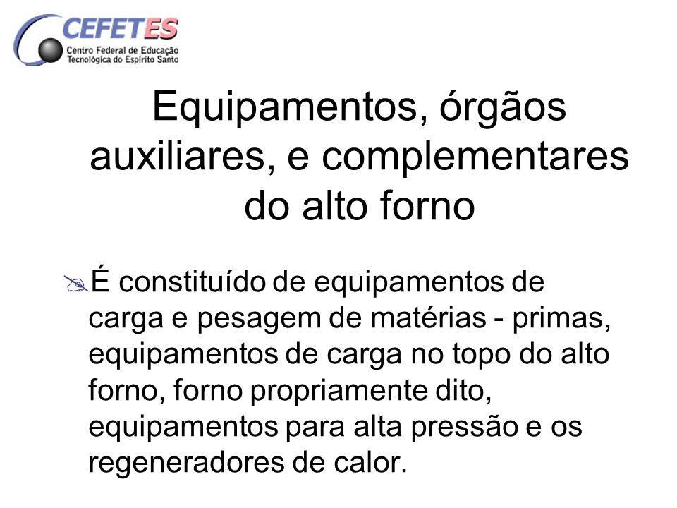 Equipamentos, órgãos auxiliares, e complementares do alto forno É constituído de equipamentos de carga e pesagem de matérias - primas, equipamentos de