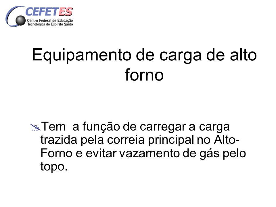 Equipamento de carga de alto forno Tem a função de carregar a carga trazida pela correia principal no Alto- Forno e evitar vazamento de gás pelo topo.