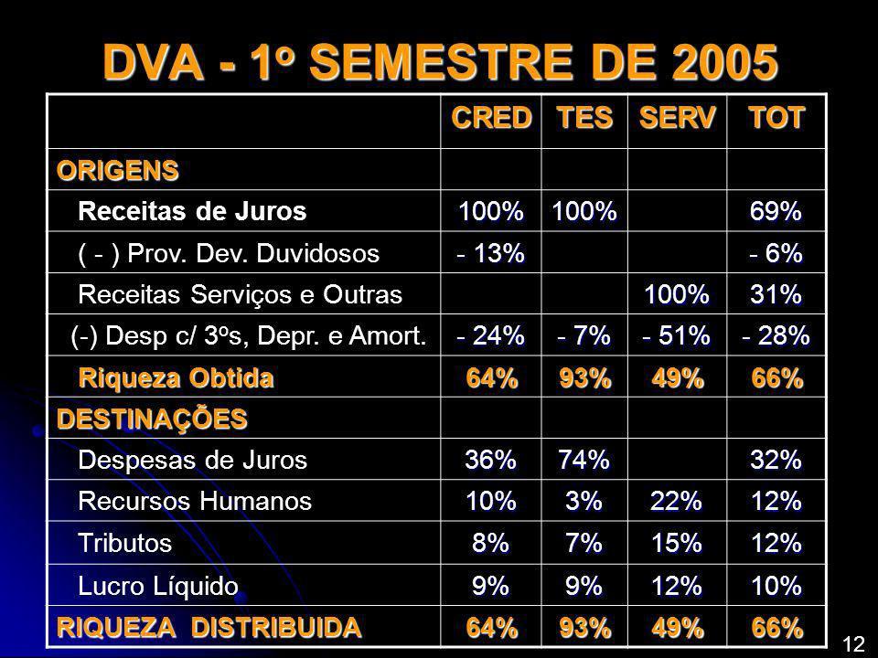 DVA - 1 o SEMESTRE DE 2005 CREDTESSERVTOT ORIGENS Receitas de Juros100%100% 69% ( - ) Prov. Dev. Duvidosos - 13% - 6% Receitas Serviços e Outras 100%3