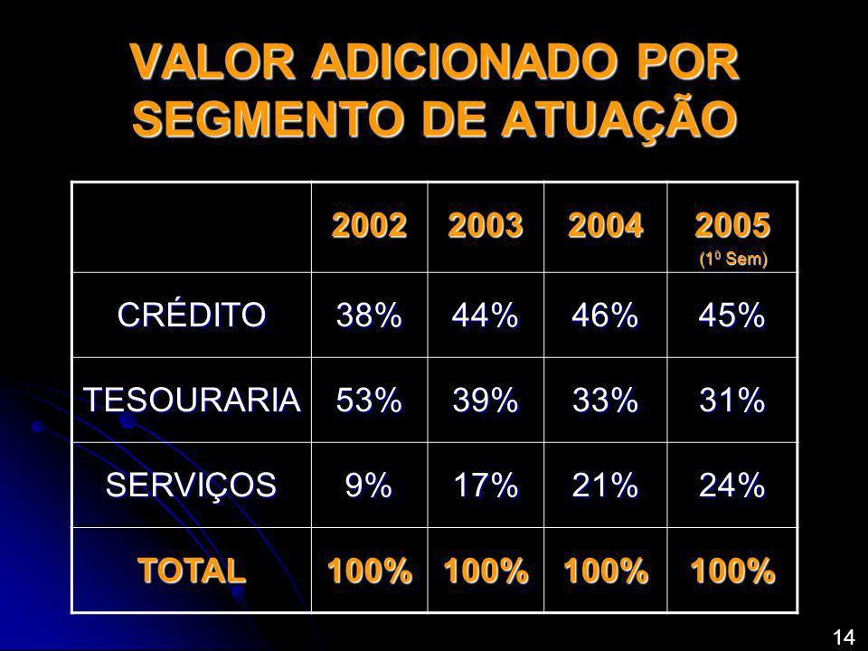 VALOR ADICIONADO POR SEGMENTO DE ATUAÇÃO 2002200320042005 (1 0 Sem) CRÉDITO38%44%46%45% TESOURARIA53%39%33%31% SERVIÇOS9%17%21%24% TOTAL100%100%100%10