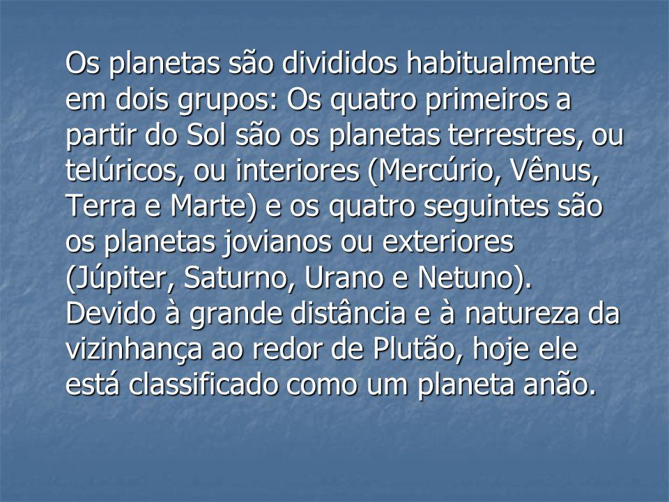 Os planetas são divididos habitualmente em dois grupos: Os quatro primeiros a partir do Sol são os planetas terrestres, ou telúricos, ou interiores (M