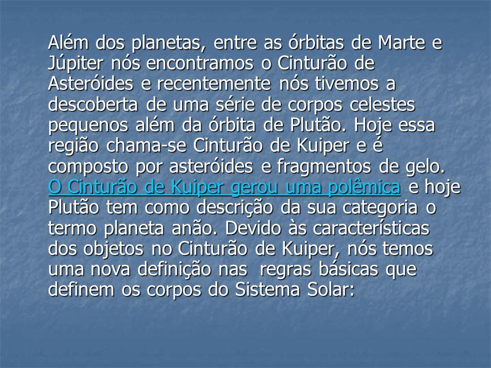 Além dos planetas, entre as órbitas de Marte e Júpiter nós encontramos o Cinturão de Asteróides e recentemente nós tivemos a descoberta de uma série d