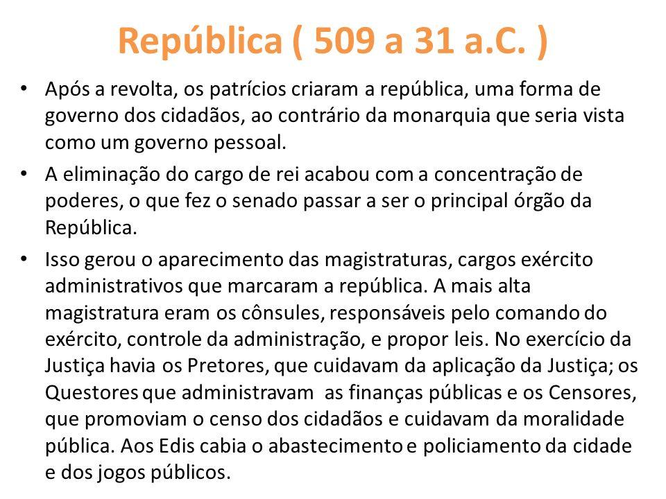 República ( 509 a 31 a.C. ) Após a revolta, os patrícios criaram a república, uma forma de governo dos cidadãos, ao contrário da monarquia que seria v