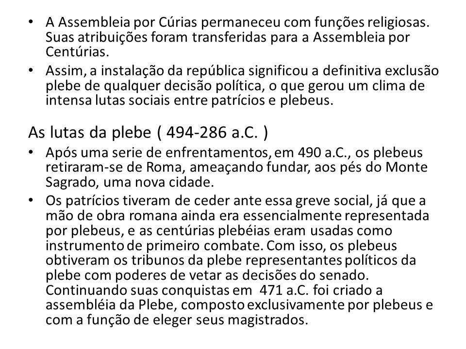 A Assembleia por Cúrias permaneceu com funções religiosas. Suas atribuições foram transferidas para a Assembleia por Centúrias. Assim, a instalação da