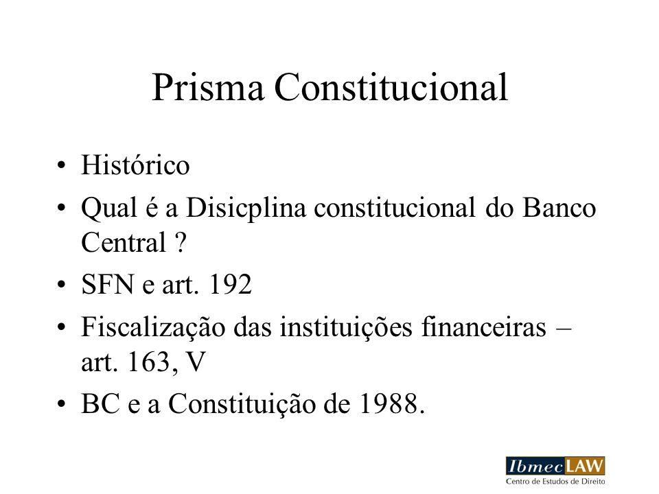 Prisma Constitucional Histórico Qual é a Disicplina constitucional do Banco Central ? SFN e art. 192 Fiscalização das instituições financeiras – art.