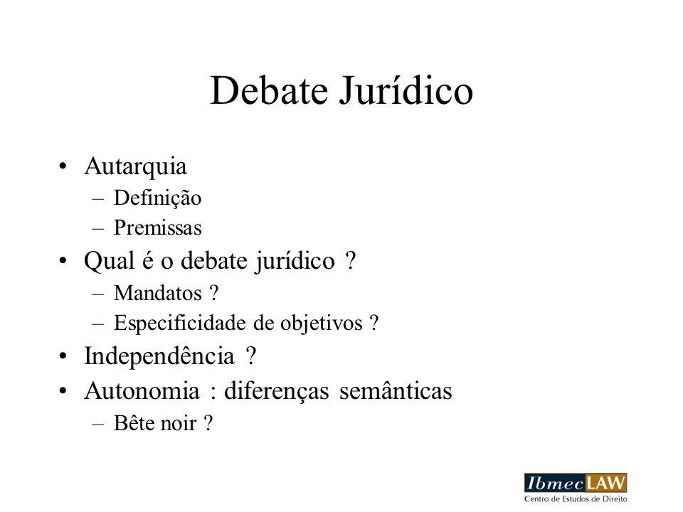 Debate Jurídico Autarquia –Definição –Premissas Qual é o debate jurídico ? –Mandatos ? –Especificidade de objetivos ? Independência ? Autonomia : dife