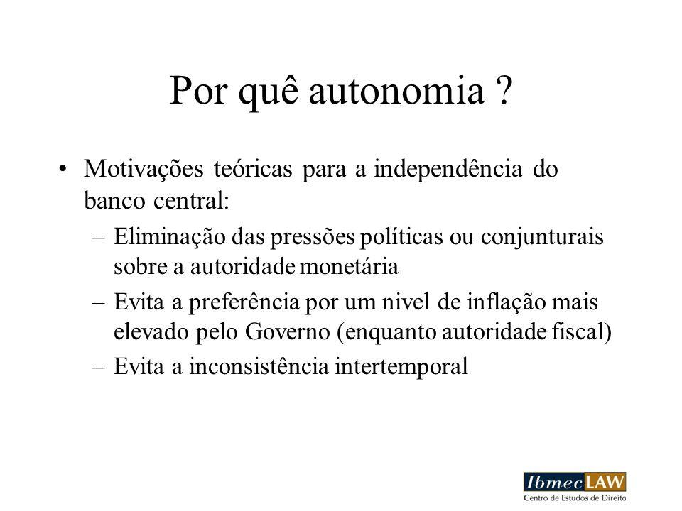 Por quê autonomia ? Motivações teóricas para a independência do banco central: –Eliminação das pressões políticas ou conjunturais sobre a autoridade m