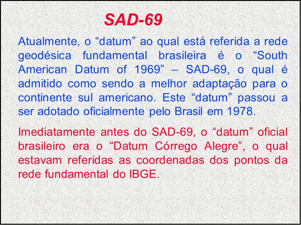 Atualmente, o datum ao qual está referida a rede geodésica fundamental brasileira é o South American Datum of 1969 – SAD-69, o qual é admitido como se