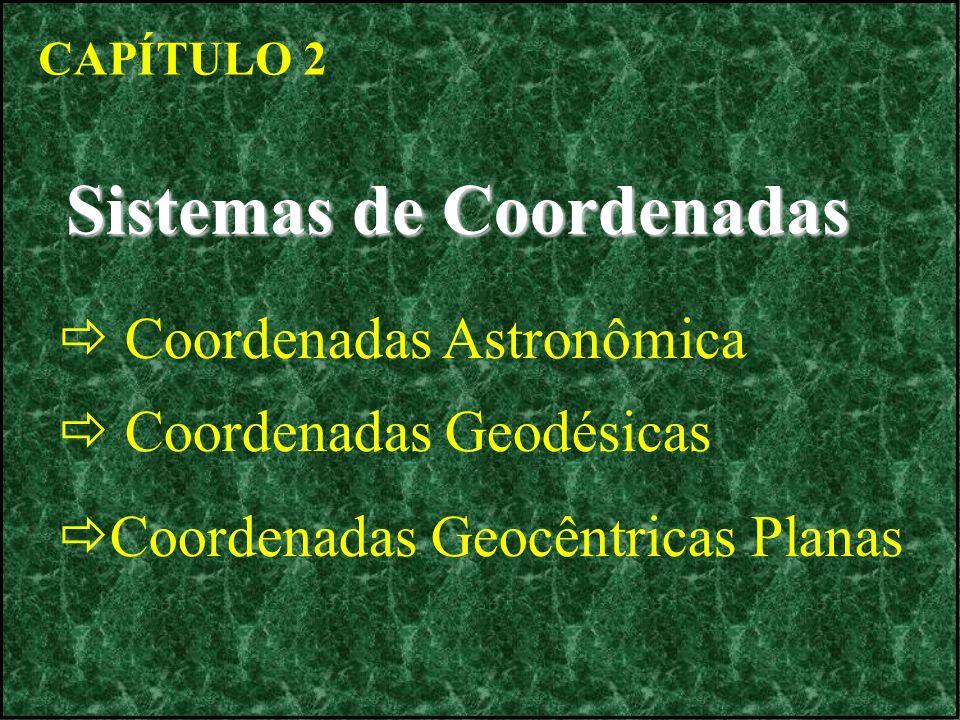 CAPÍTULO 2 Sistemas de Coordenadas Coordenadas Astronômica Coordenadas Geodésicas Coordenadas Geocêntricas Planas