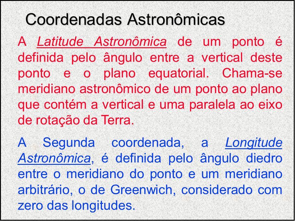 A Latitude Astronômica de um ponto é definida pelo ângulo entre a vertical deste ponto e o plano equatorial. Chama-se meridiano astronômico de um pont