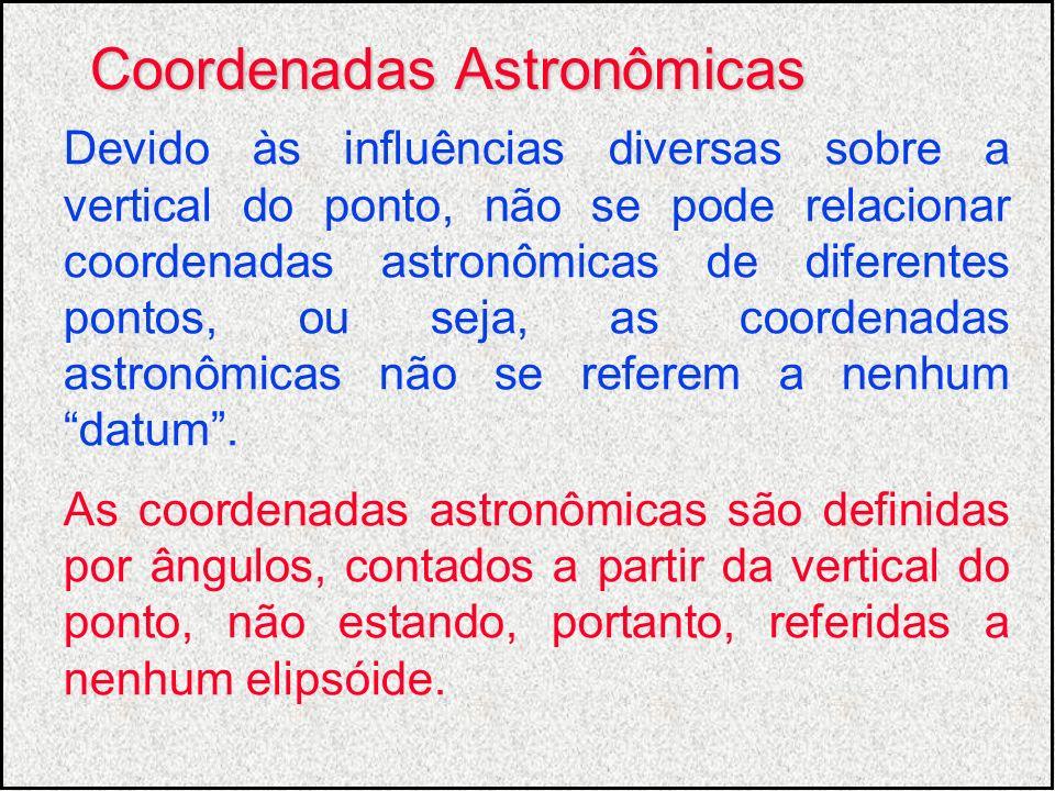 Devido às influências diversas sobre a vertical do ponto, não se pode relacionar coordenadas astronômicas de diferentes pontos, ou seja, as coordenada