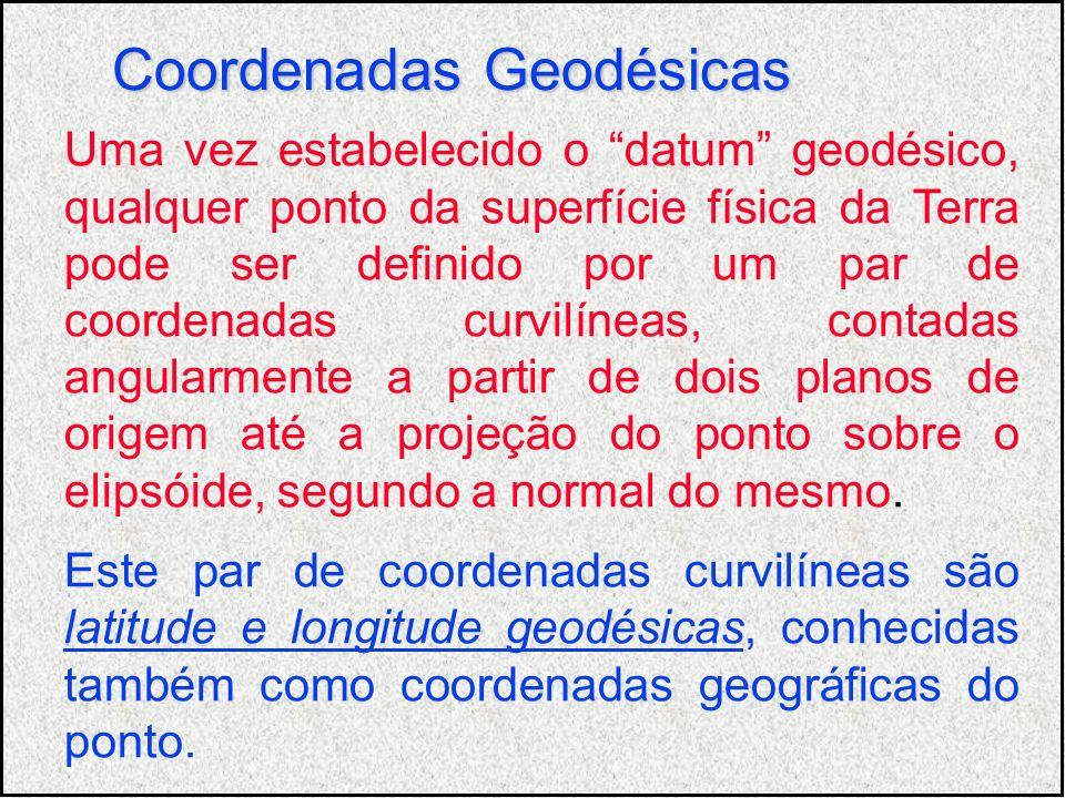 Uma vez estabelecido o datum geodésico, qualquer ponto da superfície física da Terra pode ser definido por um par de coordenadas curvilíneas, contadas