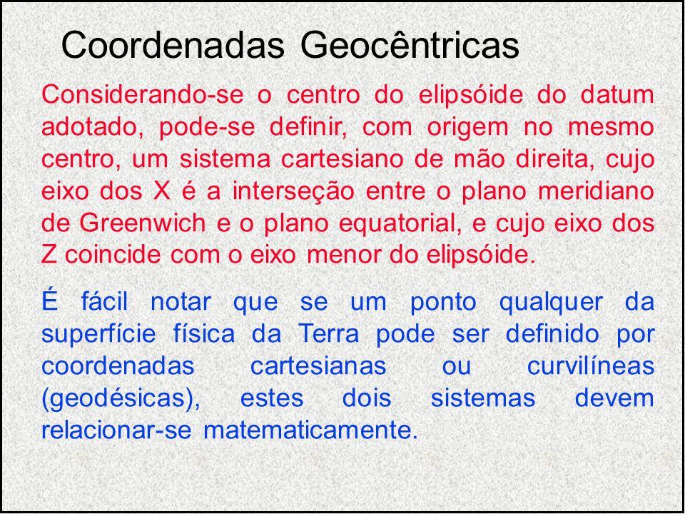 Considerando-se o centro do elipsóide do datum adotado, pode-se definir, com origem no mesmo centro, um sistema cartesiano de mão direita, cujo eixo d