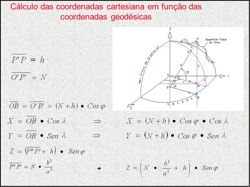 Cálculo das coordenadas cartesiana em função das coordenadas geodésicas
