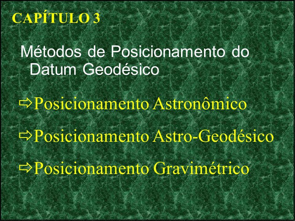 CAPÍTULO 3 Métodos de Posicionamento do Datum Geodésico Posicionamento Astronômico Posicionamento Astro-Geodésico Posicionamento Gravimétrico