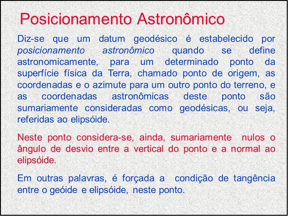 Diz-se que um datum geodésico é estabelecido por posicionamento astronômico quando se define astronomicamente, para um determinado ponto da superfície