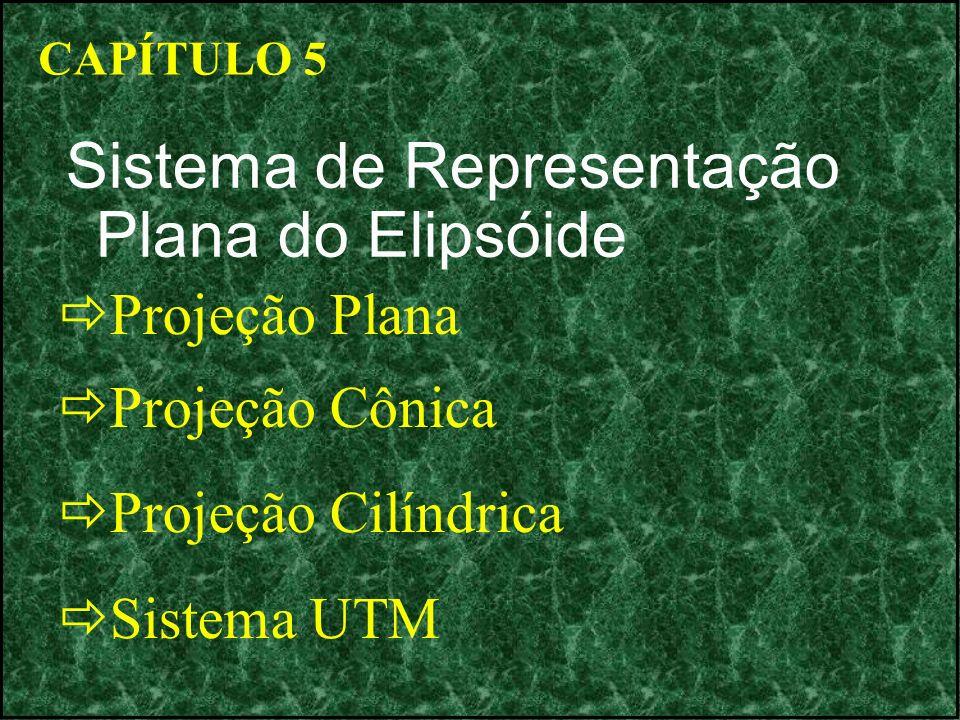 CAPÍTULO 5 Sistema de Representação Plana do Elipsóide Projeção Plana Projeção Cônica Projeção Cilíndrica Sistema UTM