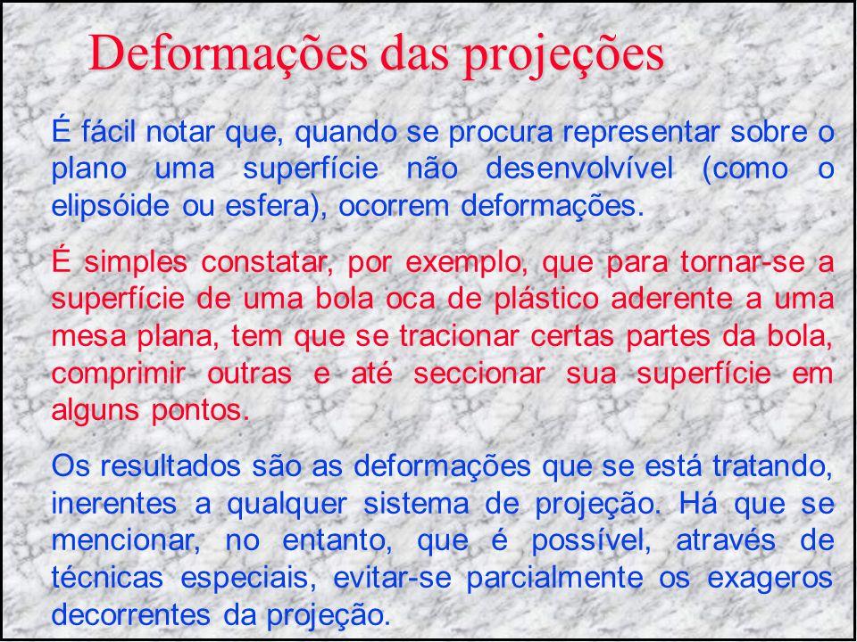 Deformações das projeções É fácil notar que, quando se procura representar sobre o plano uma superfície não desenvolvível (como o elipsóide ou esfera)