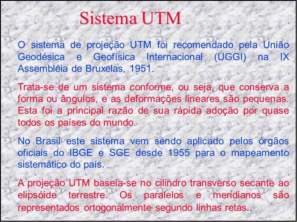 Sistema UTM O sistema de projeção UTM foi recomendado pela União Geodésica e Geofísica Internacional (UGGI) na IX Assembléia de Bruxelas, 1951. Trata-