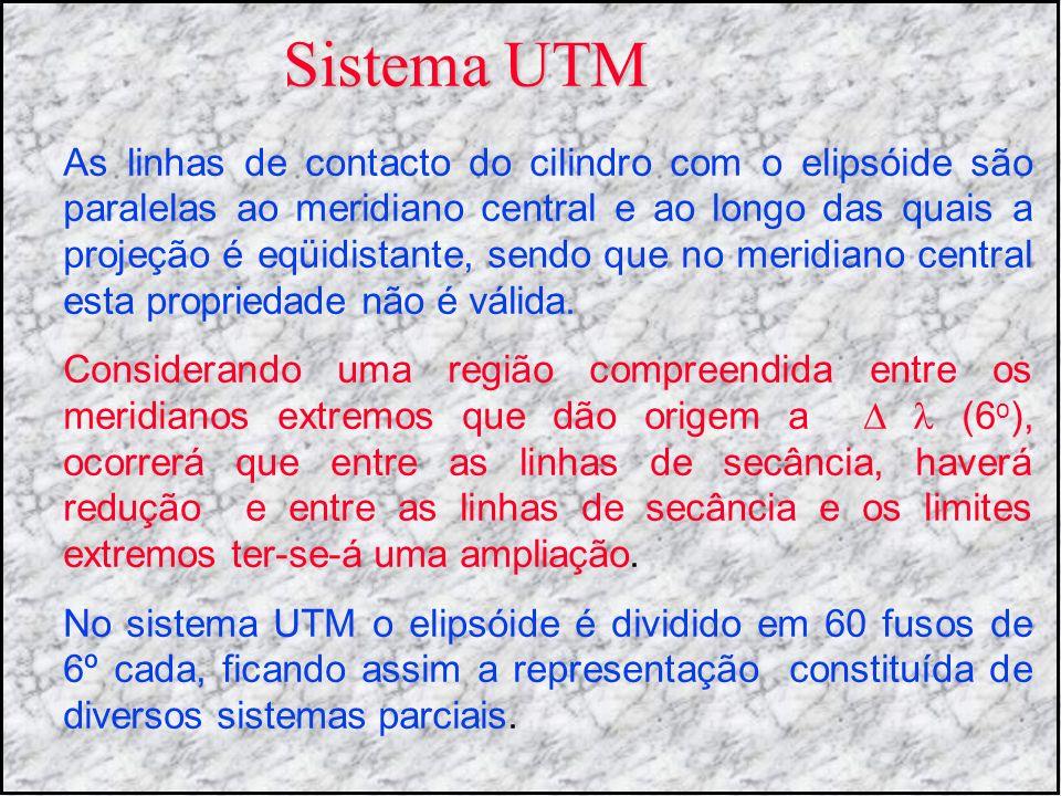 Sistema UTM As linhas de contacto do cilindro com o elipsóide são paralelas ao meridiano central e ao longo das quais a projeção é eqüidistante, sendo