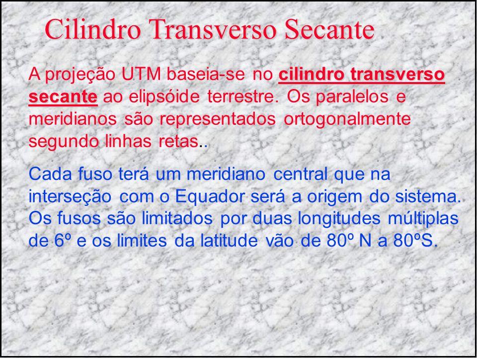 Cilindro Transverso Secante cilindro transverso secante A projeção UTM baseia-se no cilindro transverso secante ao elipsóide terrestre. Os paralelos e