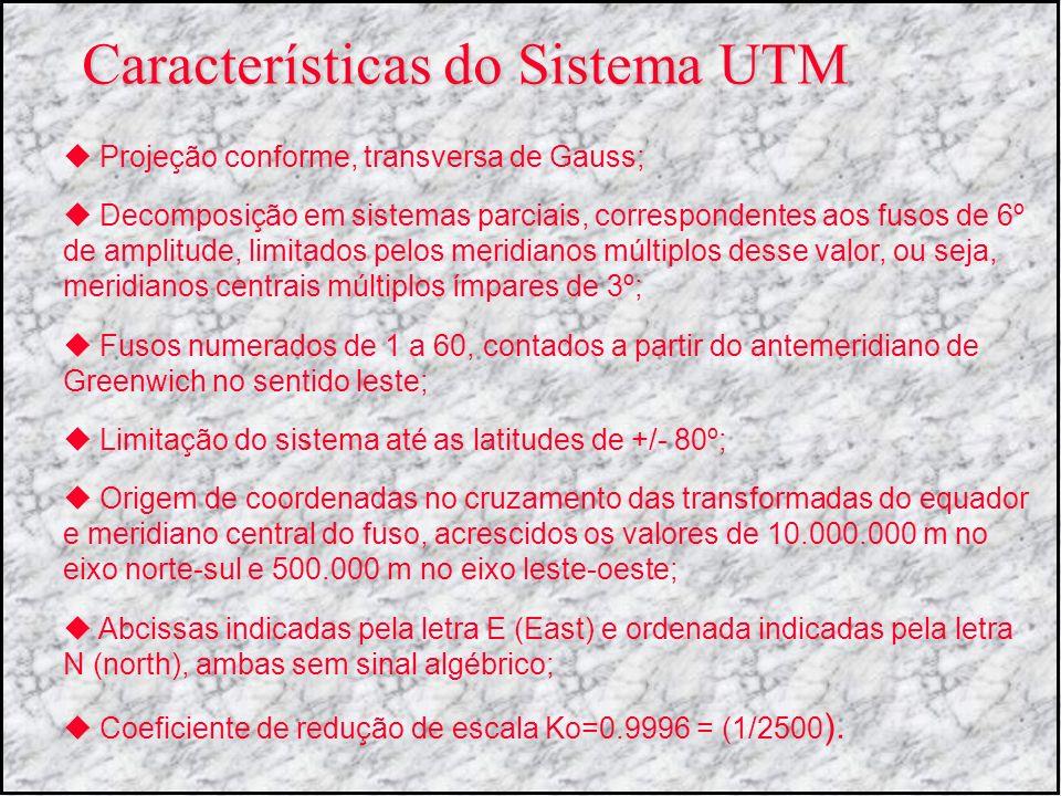 Características do Sistema UTM Projeção conforme, transversa de Gauss; Decomposição em sistemas parciais, correspondentes aos fusos de 6º de amplitude