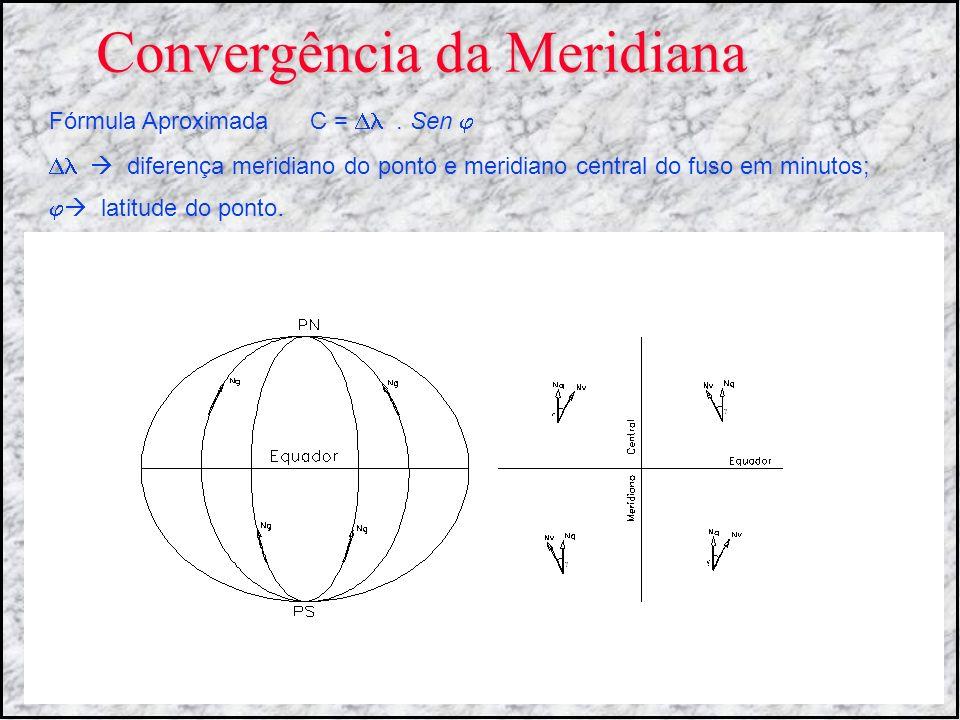 Convergência da Meridiana Fórmula Aproximada C =. Sen diferença meridiano do ponto e meridiano central do fuso em minutos; latitude do ponto.
