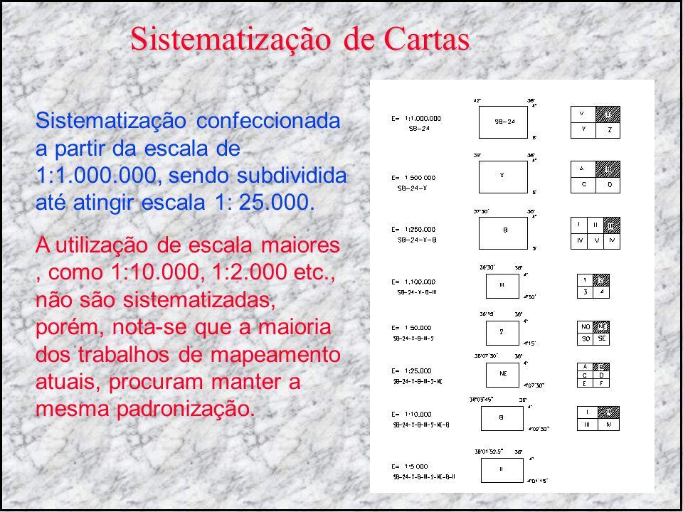 Sistematização confeccionada a partir da escala de 1:1.000.000, sendo subdividida até atingir escala 1: 25.000. A utilização de escala maiores, como 1