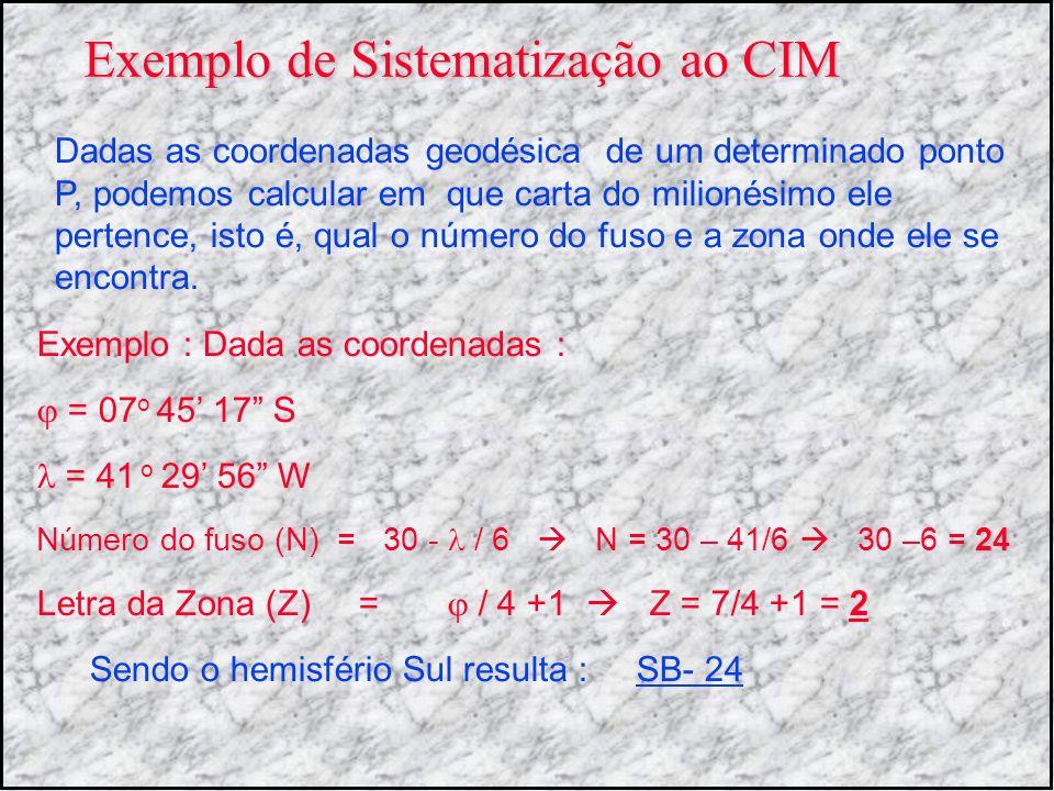 Exemplo de Sistematização ao CIM Exemplo : Dada as coordenadas : = 07 o 45 17 S = 41 o 29 56 W Número do fuso (N) = 30 - / 6 N = 30 – 41/6 30 –6 = 24