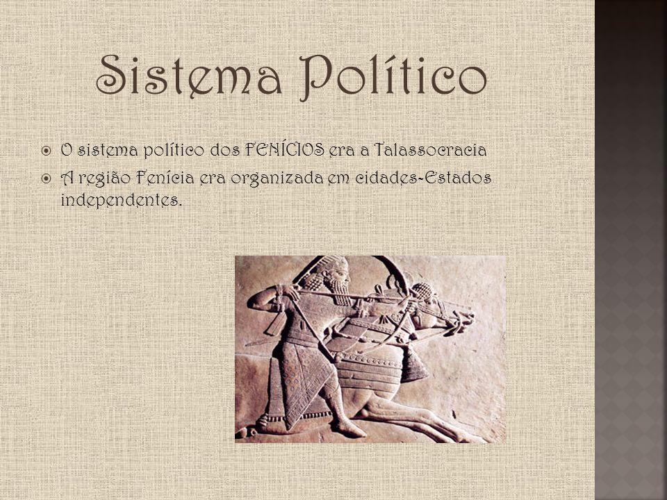 Sistema Político O sistema político dos FENÍCIOS era a Talassocracia A região Fenícia era organizada em cidades-Estados independentes.