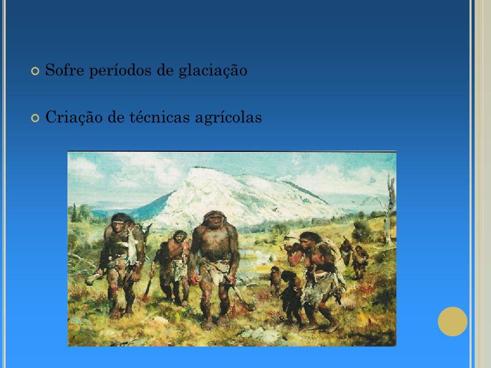 Sofre períodos de glaciação Criação de técnicas agrícolas