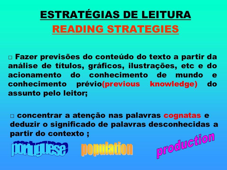 ESTRATÉGIAS DE LEITURA READING STRATEGIES Fazer previsões do conteúdo do texto a partir da análise de títulos, gráficos, ilustrações, etc e do acionam