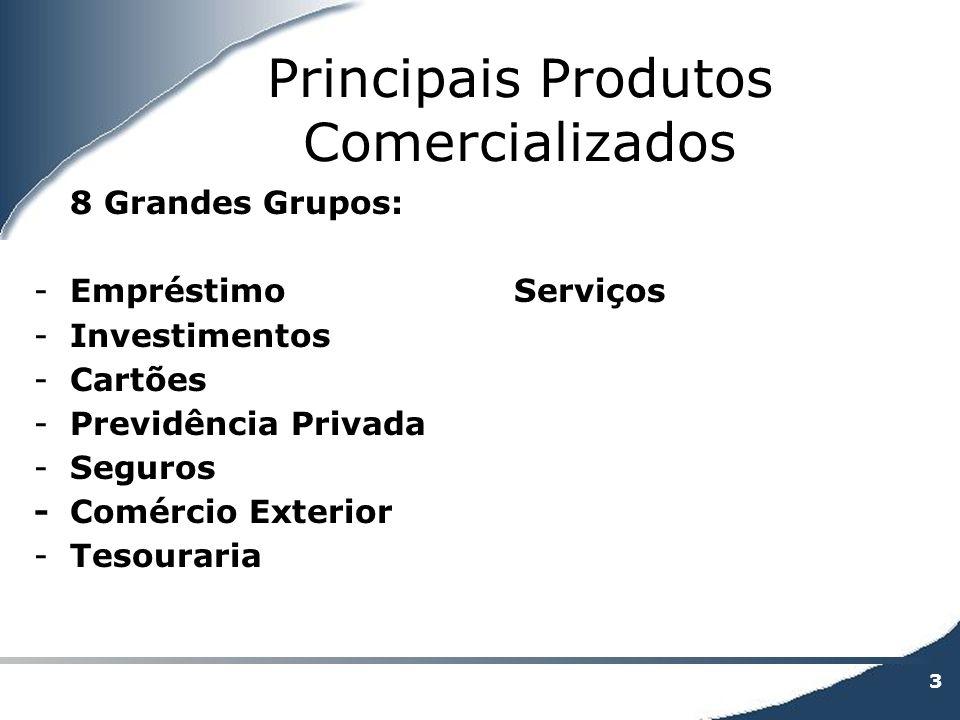3 Principais Produtos Comercializados 8 Grandes Grupos: -EmpréstimoServiços -Investimentos -Cartões -Previdência Privada -Seguros -Comércio Exterior -