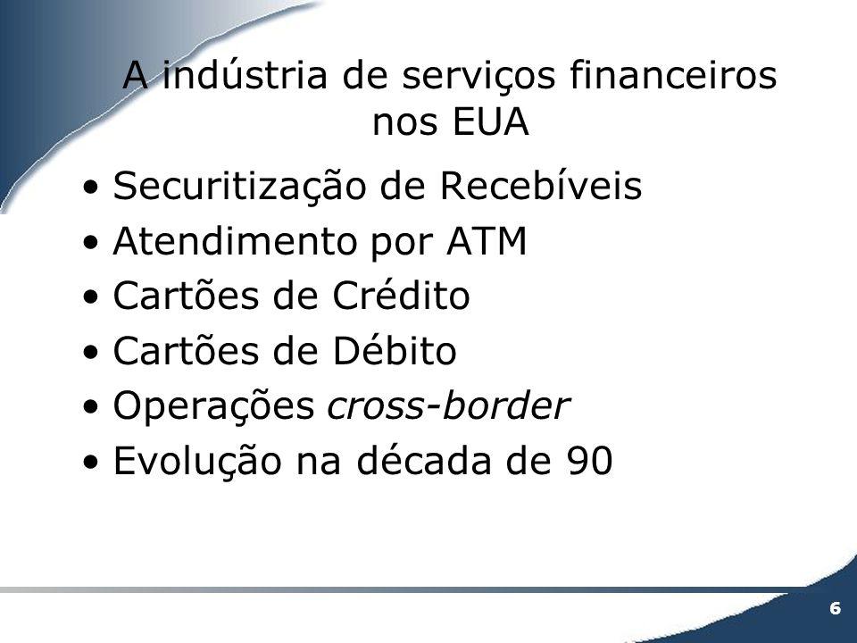 6 A indústria de serviços financeiros nos EUA Securitização de Recebíveis Atendimento por ATM Cartões de Crédito Cartões de Débito Operações cross-bor