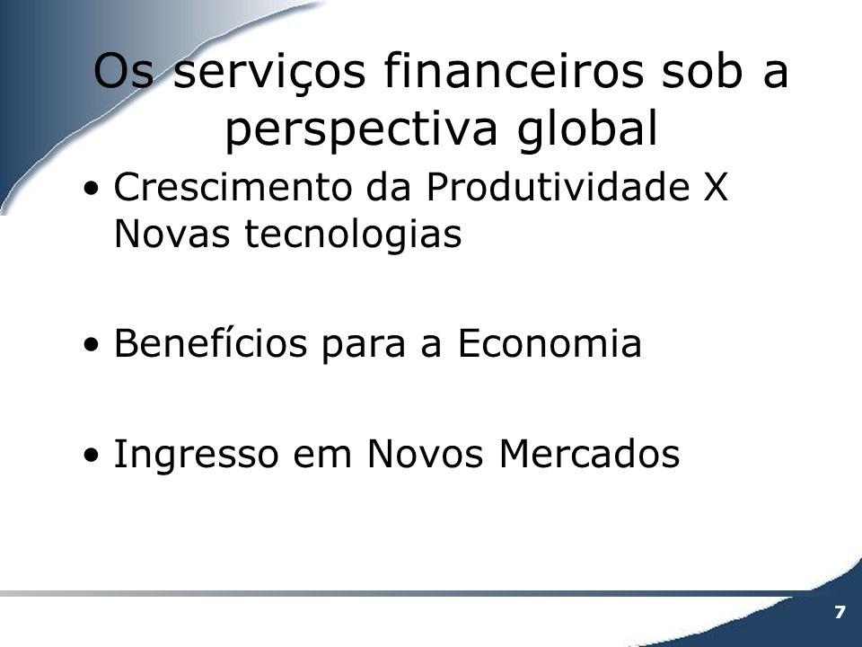 7 Os serviços financeiros sob a perspectiva global Crescimento da Produtividade X Novas tecnologias Benefícios para a Economia Ingresso em Novos Merca