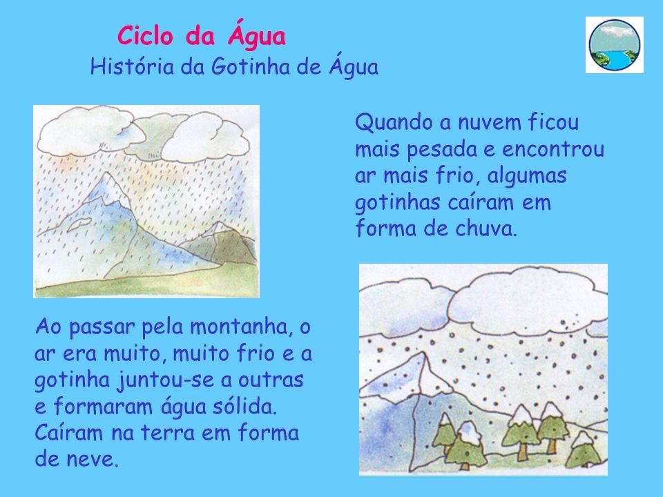 Quando a nuvem ficou mais pesada e encontrou ar mais frio, algumas gotinhas caíram em forma de chuva. História da Gotinha de Água Ao passar pela monta