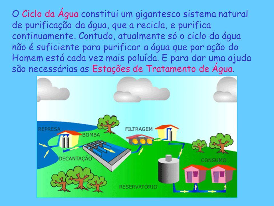 O Ciclo da Água constitui um gigantesco sistema natural de purificação da água, que a recicla, e purifica continuamente. Contudo, atualmente só o cicl