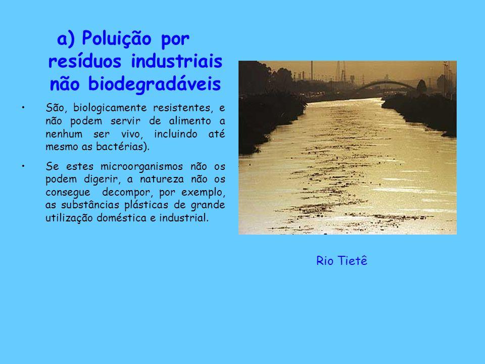 a) Poluição por resíduos industriais não biodegradáveis São, biologicamente resistentes, e não podem servir de alimento a nenhum ser vivo, incluindo a