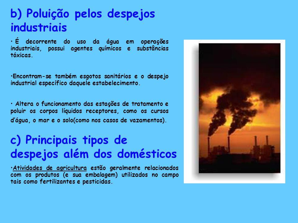 b) Poluição pelos despejos industriais É decorrente do uso da água em operações industriais, possui agentes químicos e substâncias tóxicas. Encontram-