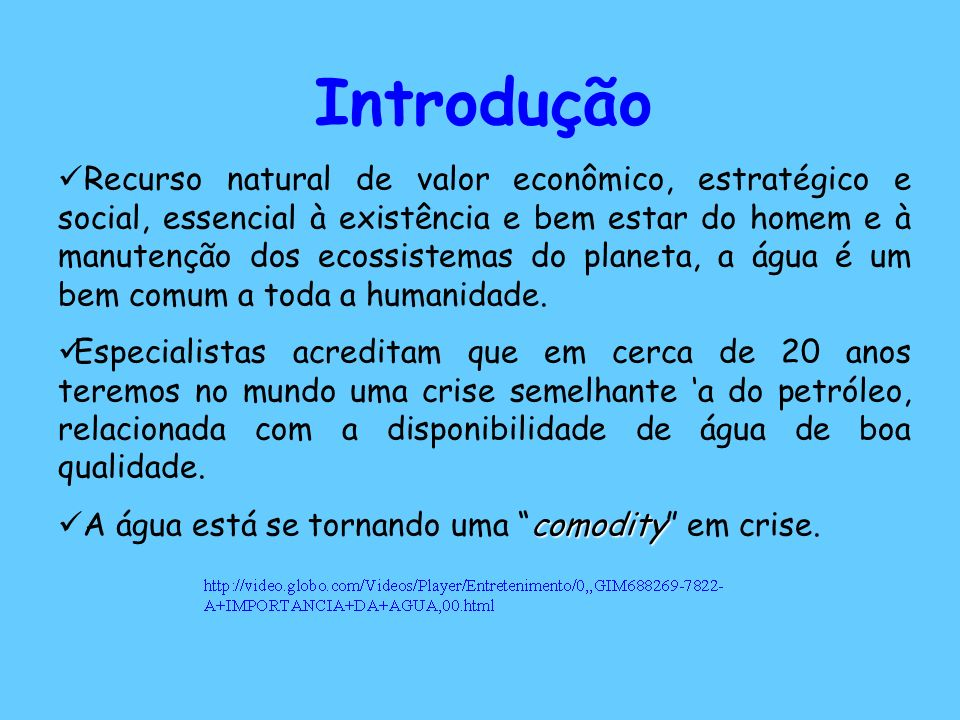 Introdução Recurso natural de valor econômico, estratégico e social, essencial à existência e bem estar do homem e à manutenção dos ecossistemas do pl