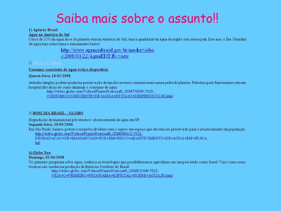 Saiba mais sobre o assunto!! 1) Agência Brasil Água na América do Sul Cerca de 25% da água doce do planeta está na América do Sul, mas a qualidade da