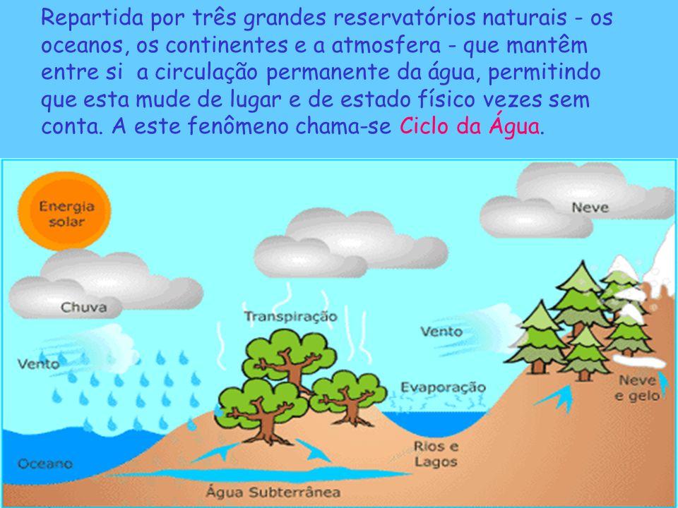 Repartida por três grandes reservatórios naturais - os oceanos, os continentes e a atmosfera - que mantêm entre si a circulação permanente da água, pe