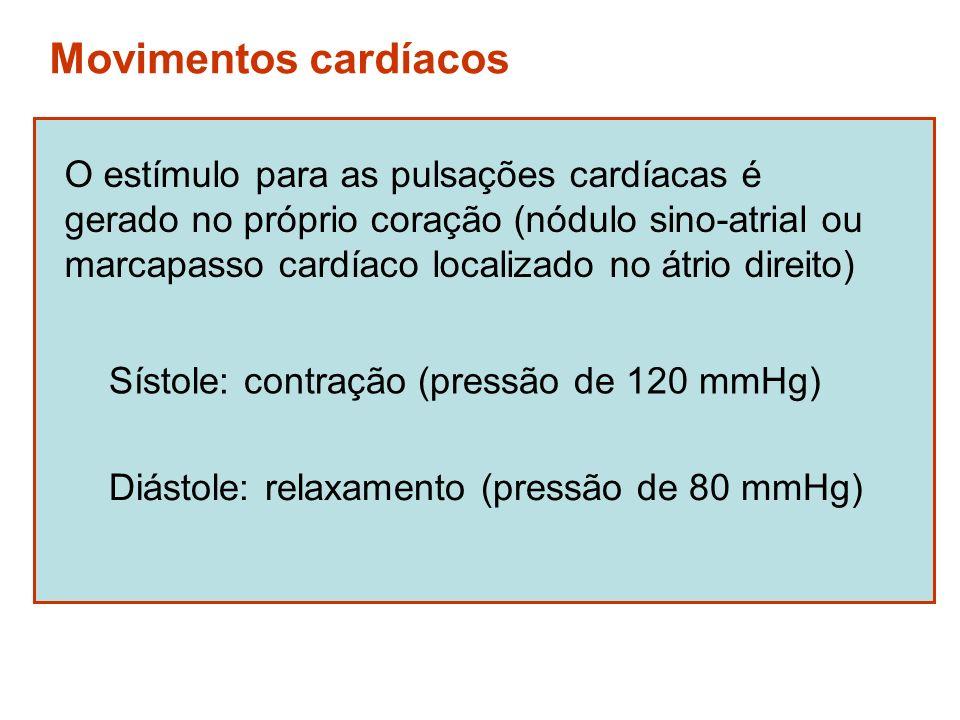 Movimentos cardíacos O estímulo para as pulsações cardíacas é gerado no próprio coração (nódulo sino-atrial ou marcapasso cardíaco localizado no átrio