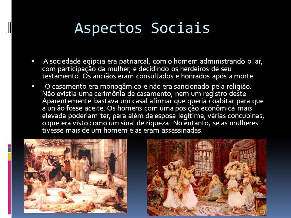 Aspectos Sociais A sociedade egípcia era patriarcal, com o homem administrando o lar, com participação da mulher, e decidindo os herdeiros de seu test