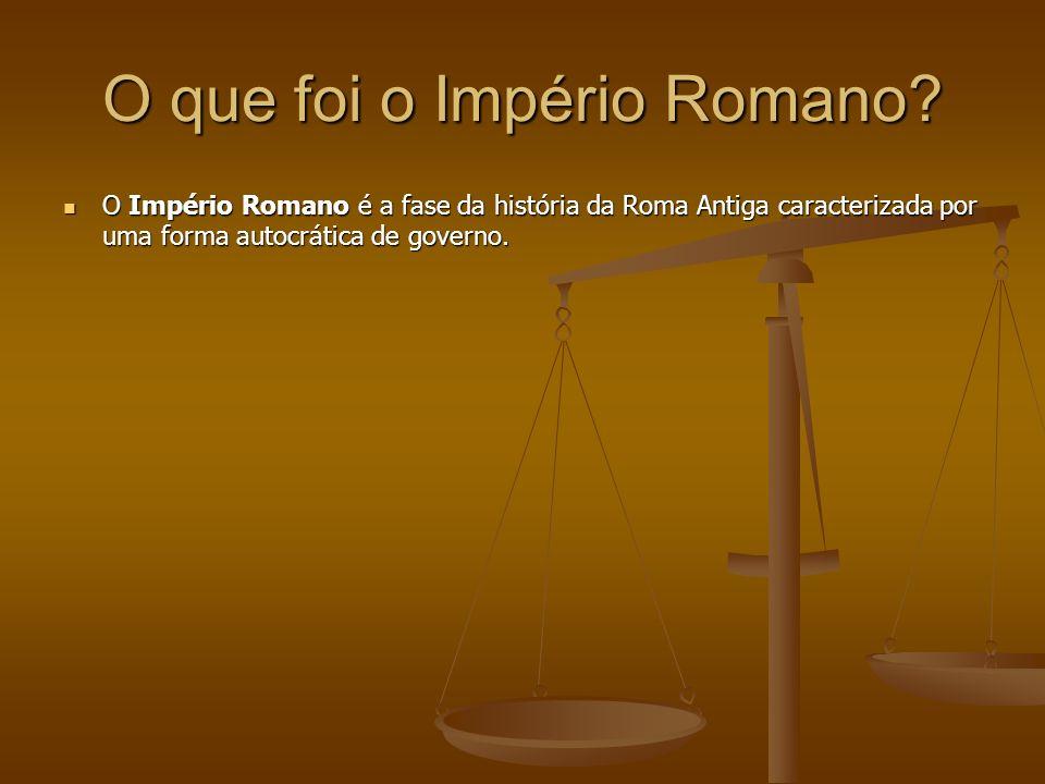 O que foi o Império Romano? O Império Romano é a fase da história da Roma Antiga caracterizada por uma forma autocrática de governo. O Império Romano